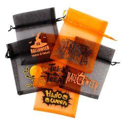 10 pz Sacchetti per Halloween / di organza 12 x 15 cm - mix di modelli e colori Decorativo Sacchetti di organza