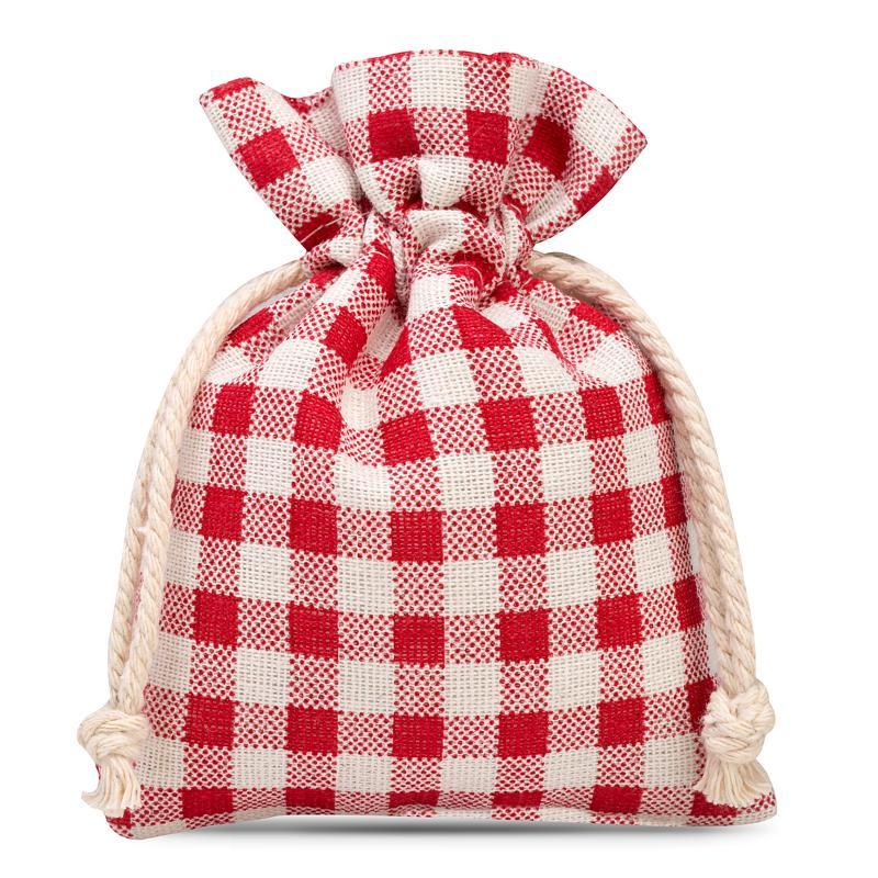 3 pz Sacchetti di lino con stampa 12 x 15 cm - naturale / traliccio rosso