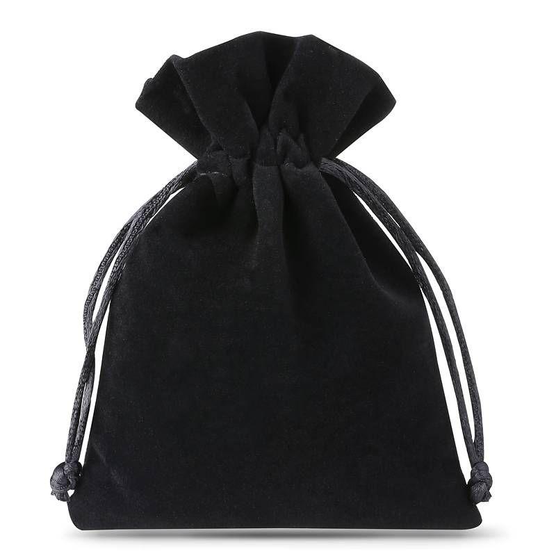 10 pz Sacchetti di velluto 6 x 8 cm - nero