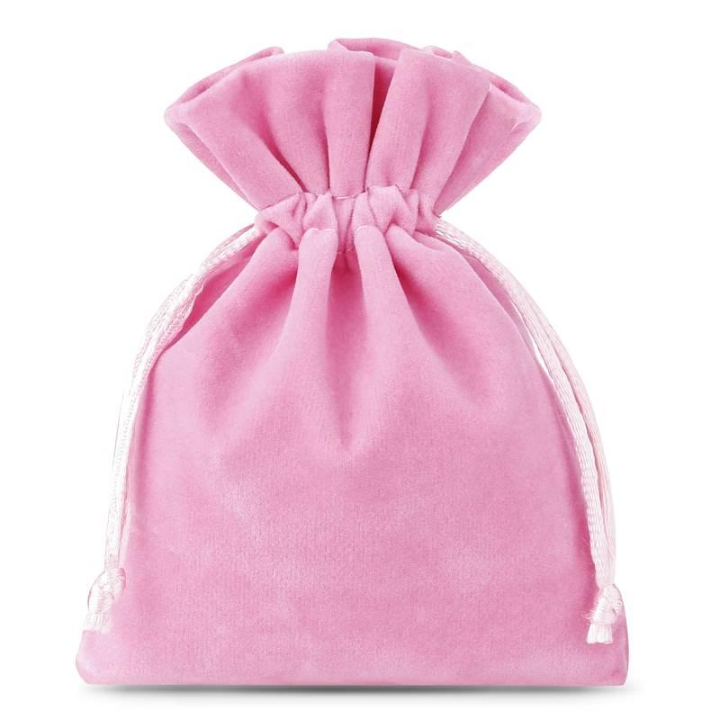10 pz Sacchetti di velluto 6 x 8 cm - rosa chiaro