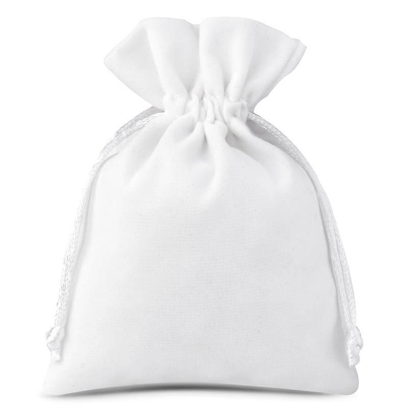 10 pz Sacchetti di velluto 6 x 8 cm - bianco