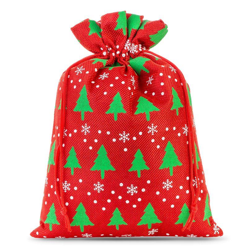 1 pz Sacchetti di juta 30 x 40 cm - rosso / albero di Natale