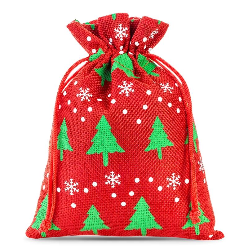 10 pz Sacchetti di juta 12 x 15 cm - rosso Sacchetto di Natale