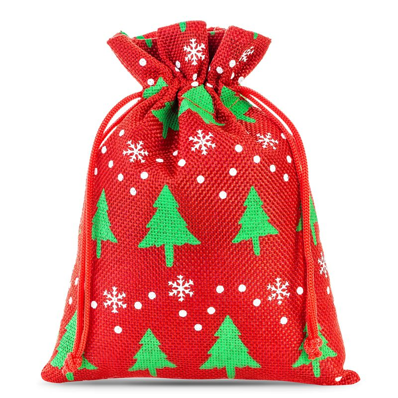 3 pz Sacchetti di juta 22 x 30 cm - rosso / albero di Natale