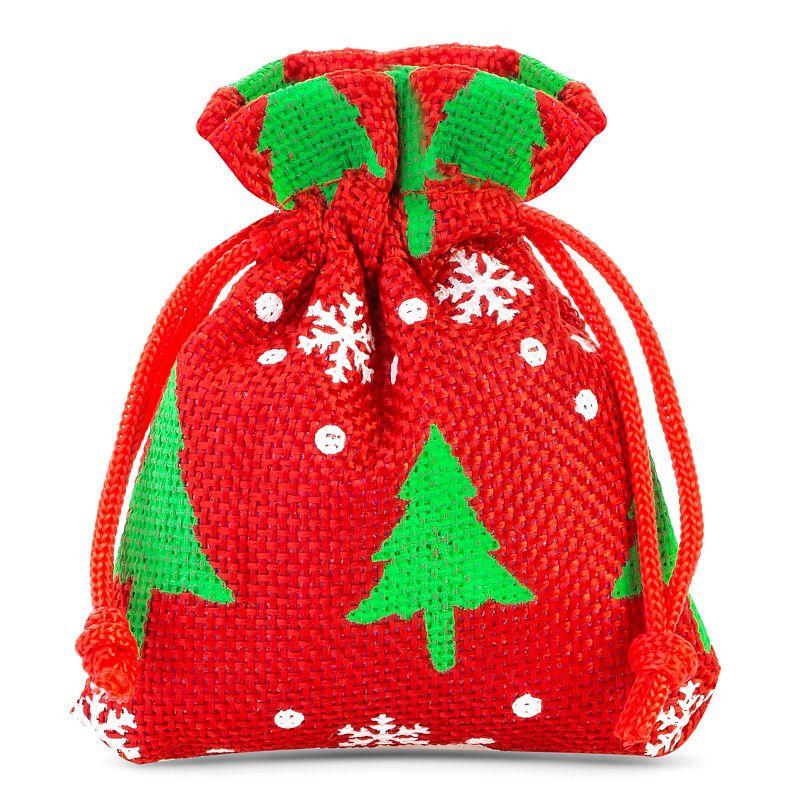 10 pz Sacchetti di juta 10 x 13 cm - rosso / albero di Natale