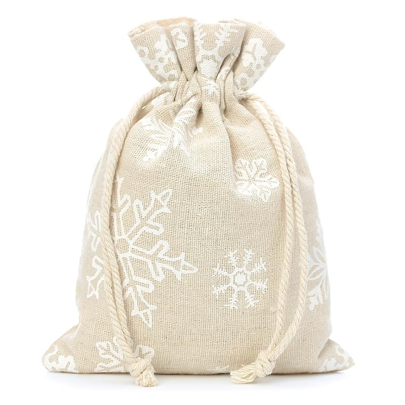 5 pz Sacchetti di lino con stampa 18 x 24 cm - naturale / neve Sacchetti di lino