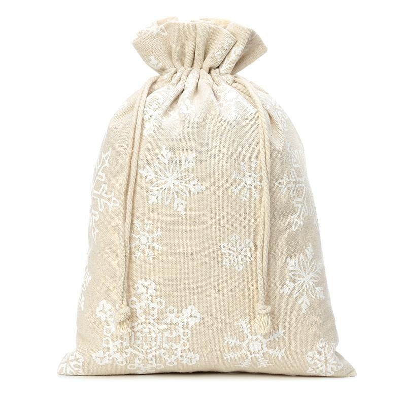 1 pz Sacchetti di lino con stampa 26 x 35 cm - naturale / neve