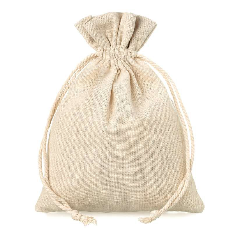 10 pz Sacchetti di lino 12 x 15 cm - naturale