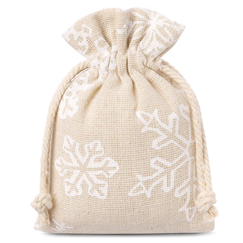 10 pz Sacchetti di lino con stampa 9 x 12 cm - naturale / neve