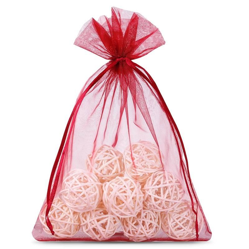 Organza bags 12 x 15 cm (25 pcs) - burgundy Decorativo Sacchetti di organza