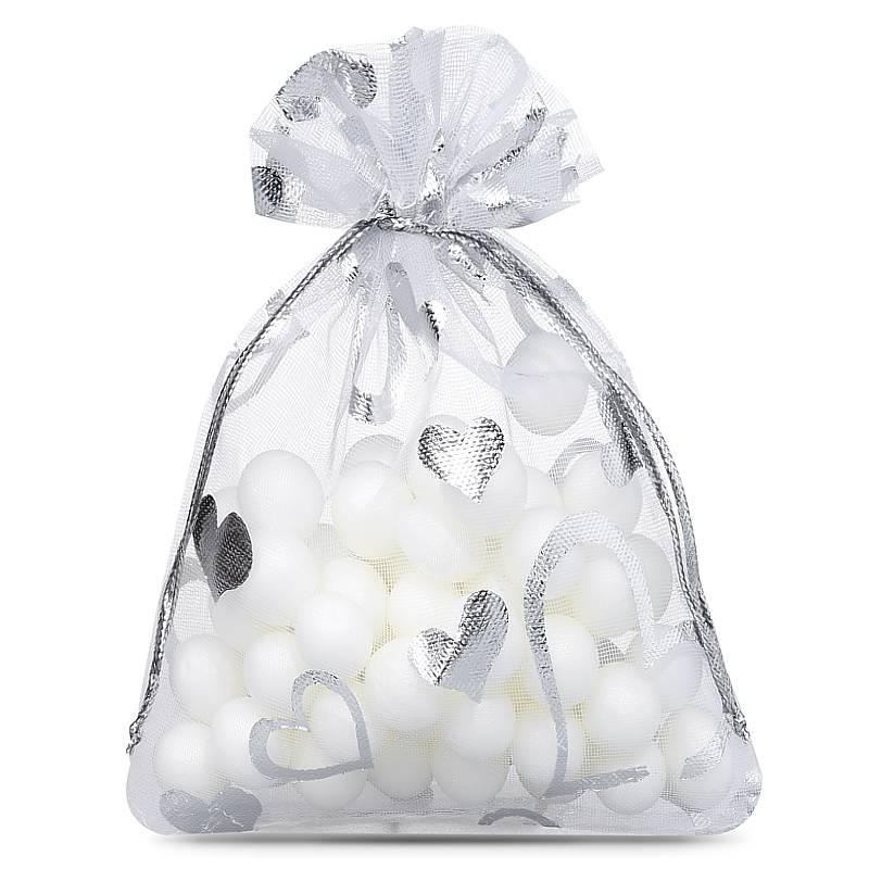 25 pz Sacchetti di organza 10 x 14 cm - bianco con stampa - cuore