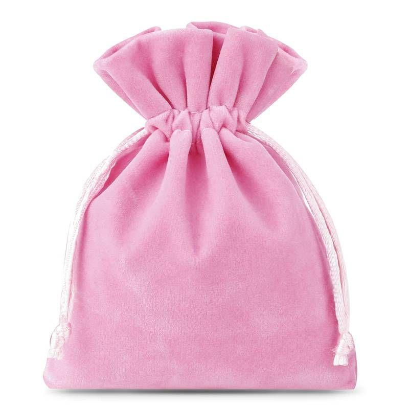10 pz Sacchetti di velluto 8 x 10 cm - rosa chiaro