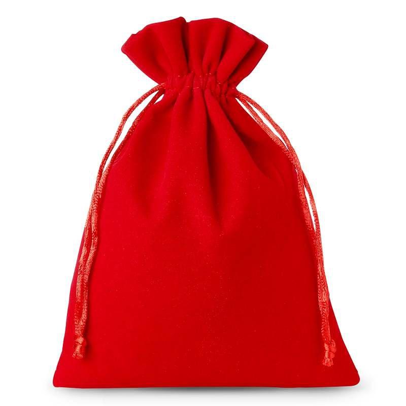 10 pz Sacchetti di velluto 12 x 15 cm - rosso