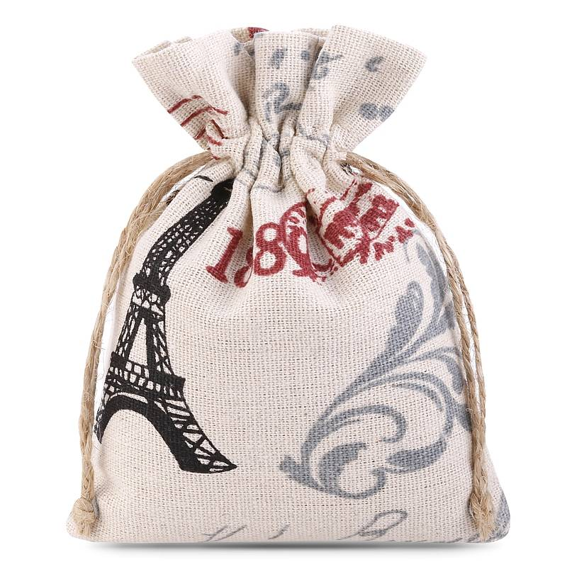 1 pz Sacchetti di lino con stampa 11 x 14 cm - naturale / Parigi