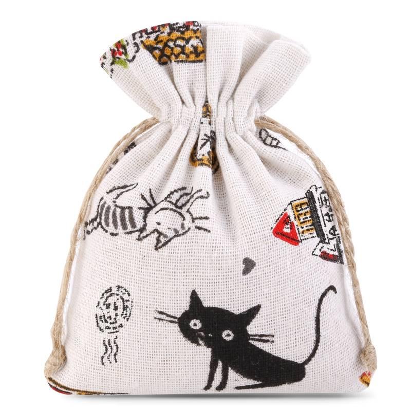 1 pz Sacchetti di lino con stampa 11 x 14 cm - naturale / gatto