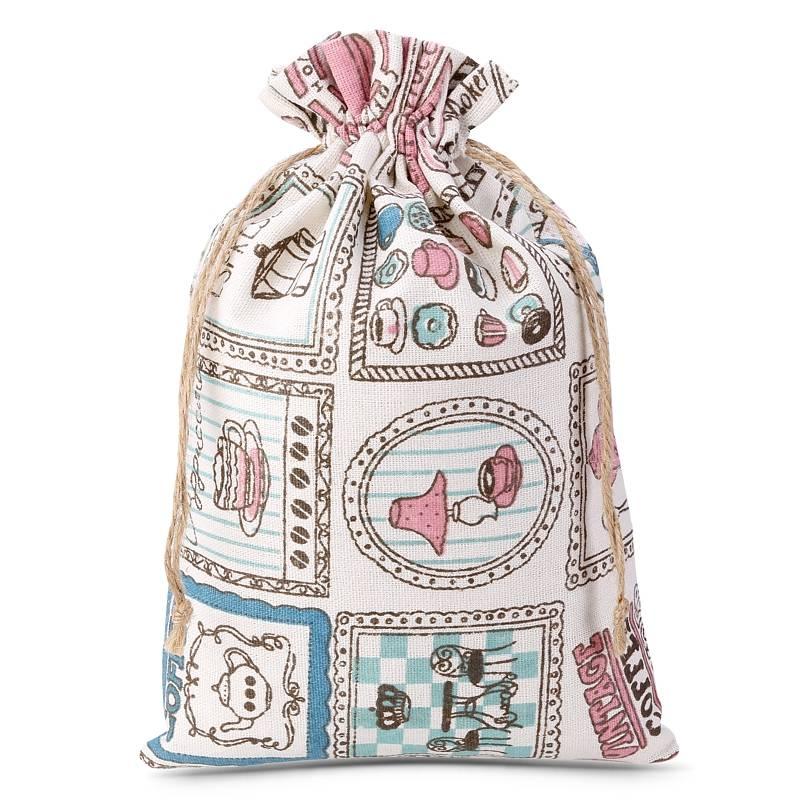 1 pz Sacchetti di lino con stampa 15 x 20 cm - naturale / cucina Sacchetti di lino