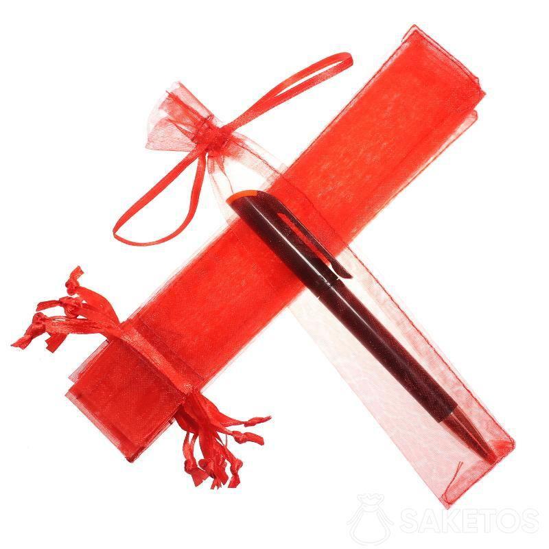 Sacchetto rosso di organza 3,5 x 19 cm per penne.
