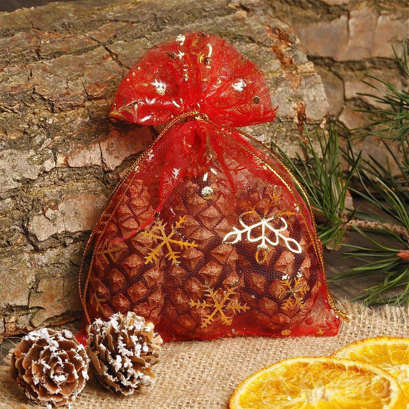 Sacchetto natalizio di organza rossa.