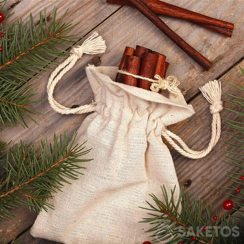Sacchetto di lino con stampa decorativa come rivestimento per vasi