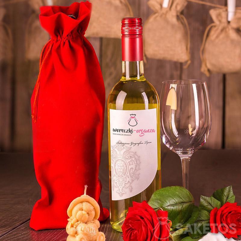 Sacchetto di velluto rosso per vino 16x37 cm.
