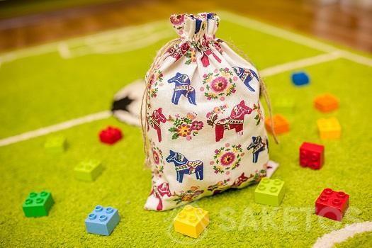 Sacchetto decorativo per la stanza dei bambini per mattoncini Lego e Duplo