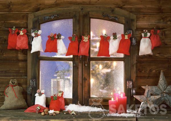 Calendario dell'Avvento con sacchetti in tessuto